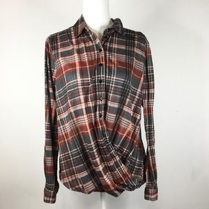 Tops - Plaid button down faux wrap top